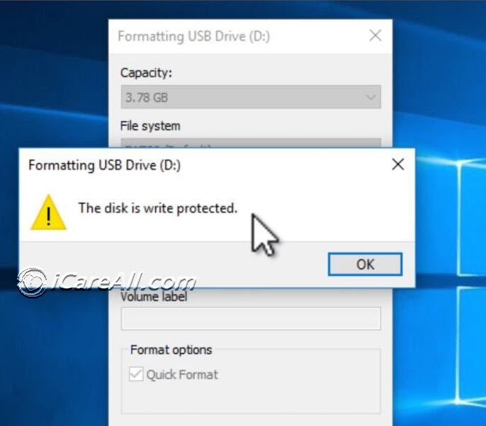Remove write protection for usb