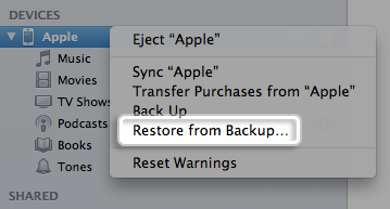 Restore deleted photos from iPhone with iTunes